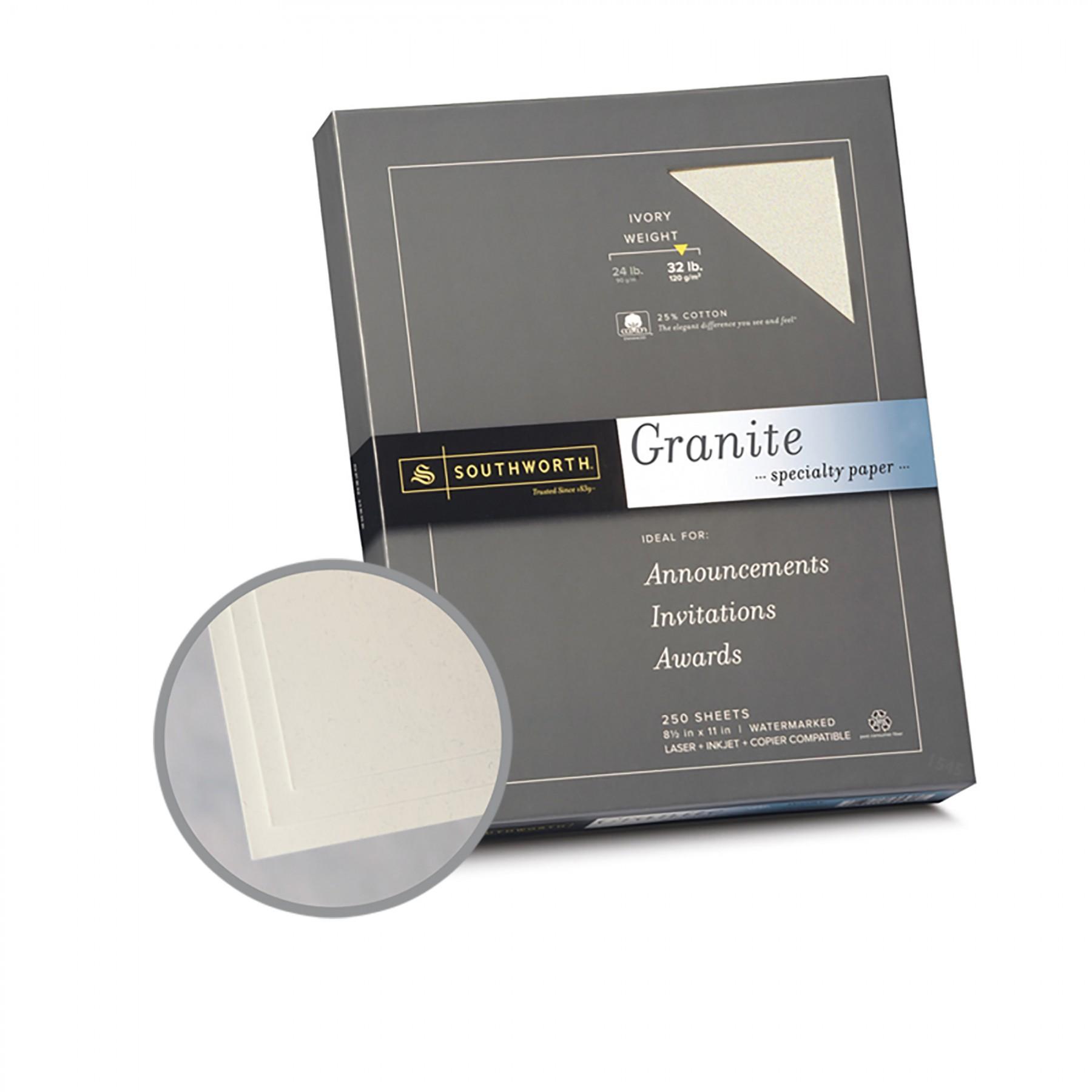 Ivory Paper 8 1 2 X 11 In 32 Lb Bond Granite 50
