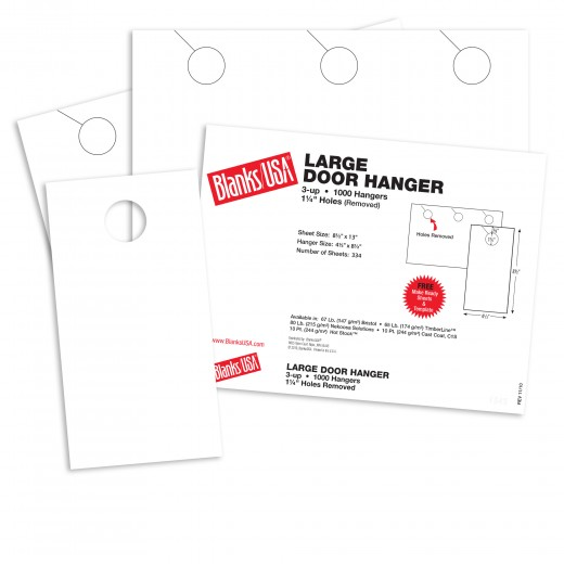 white large door hangers 13 x 8 1 2 in 80 lb cover smooth blanks