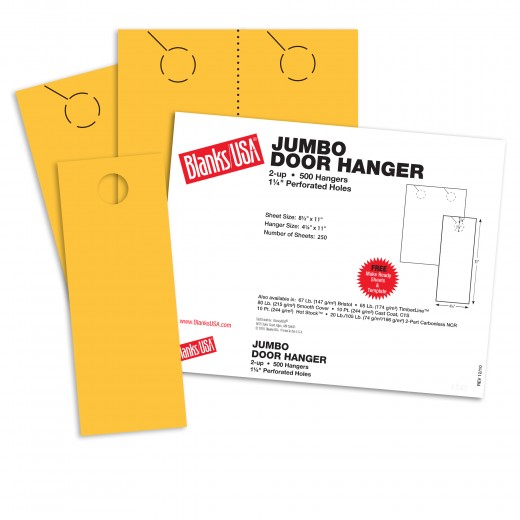 sunfish yellow jumbo door hangers 8 1 2 x 11 in 65 lb cover