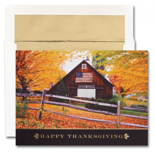 Flag On Barn Thanksgiving Cards From The Fine Impressions
