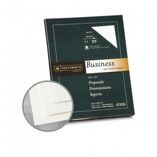 White paper 8 1 2 x 11 in 24 lb bond wove 25 cotton for Southworth business card template