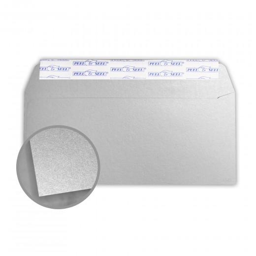 Stardream Silver Envelopes - No  10 Commercial Peel & Seal (4 1/8 x 9 1/2)  81 lb Text Metallic C/2S 500 per Box