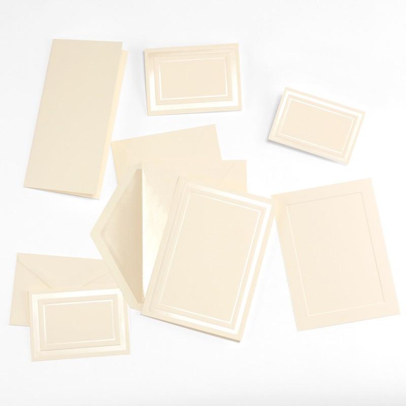 fine impressions pearl embossed border ecru jumbo folded