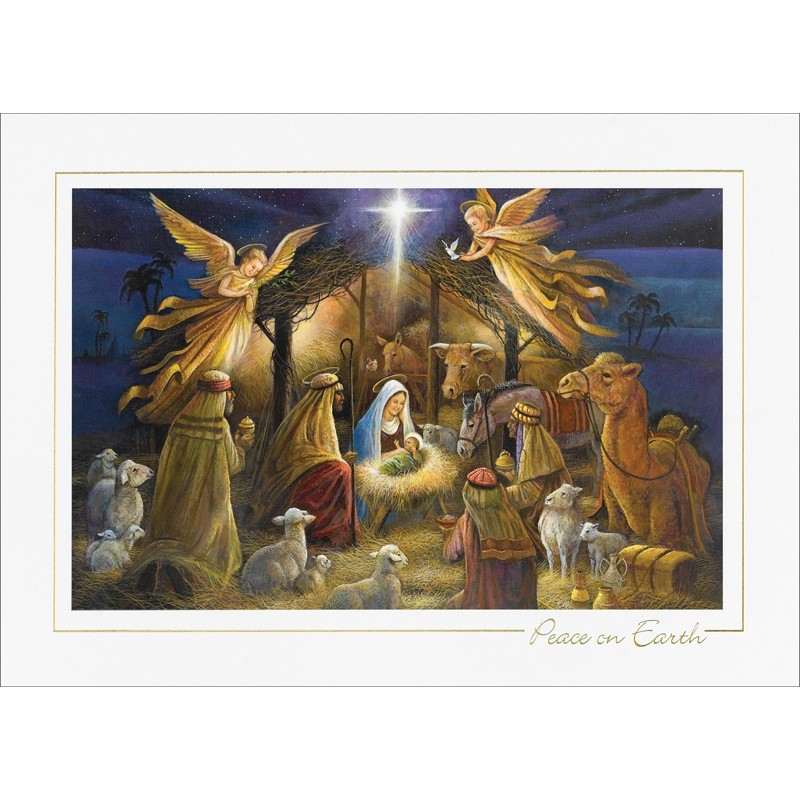 Nativity Scene Peace On Earth Cards From The Fine