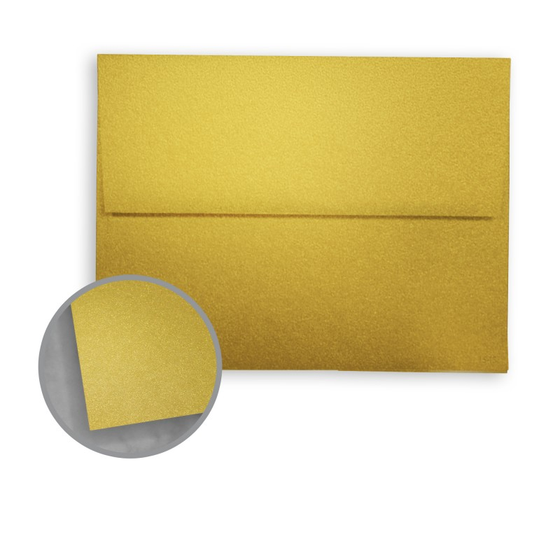 pure gold envelopes a7 5 1 4 x 7 1 4 81 lb text metallic