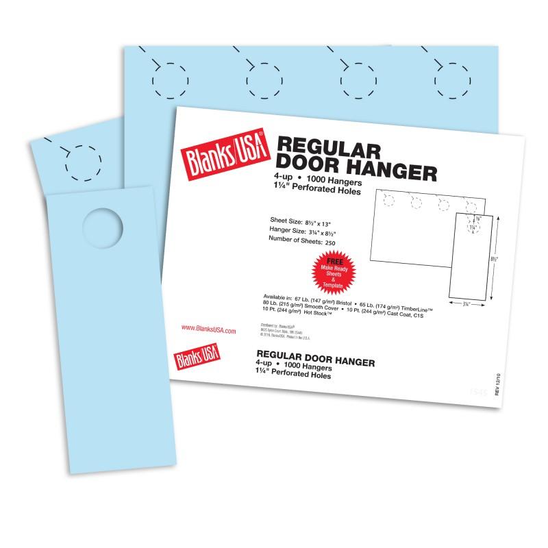 blue regular door hangers 13 x 8 1 2 in 67 lb bristol blanks usa
