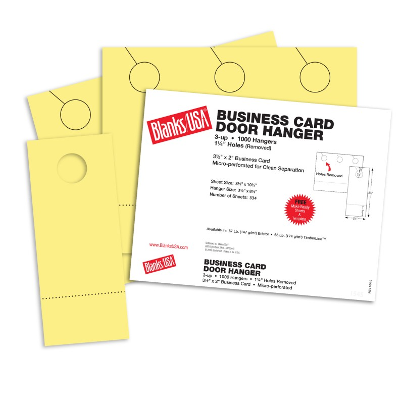 Canary Business Card Door Hangers - 10 1/2 x 8 1/2 in 67 lb Bristol ...