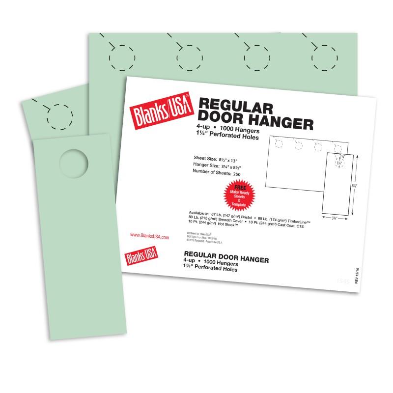 Green regular door hangers 13 x 8 1 2 in 67 lb bristol for 10000 door hangers