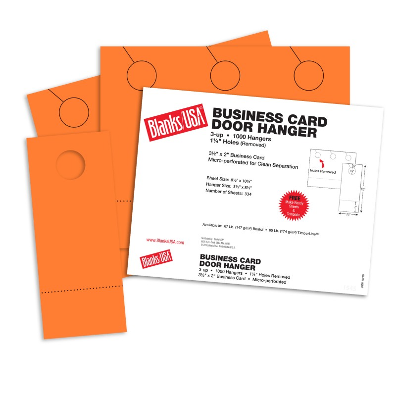 Hunters Orange Business Card Door Hangers - 10 1/2 x 8 1/2 in 65 lb ...