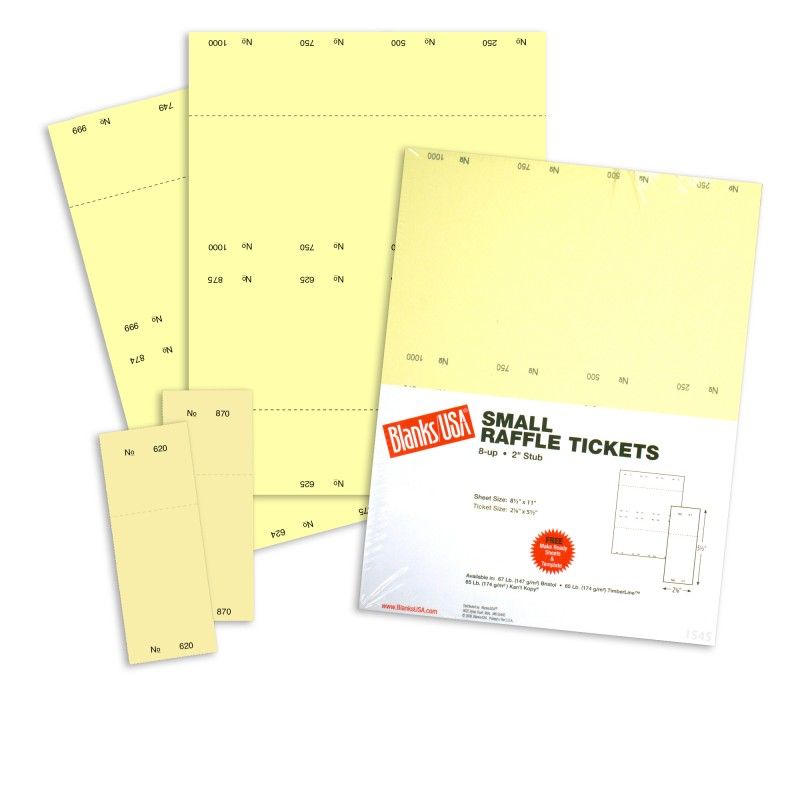 small raffle ticket paper 67 lb bristol 8 5 x 11 canary