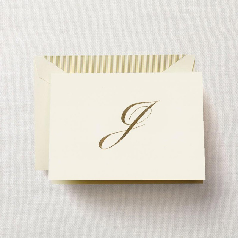 hand engraved script j initial note - Initial Note Cards