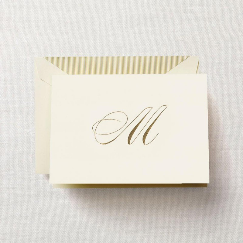 hand engraved script m initial note - Initial Note Cards