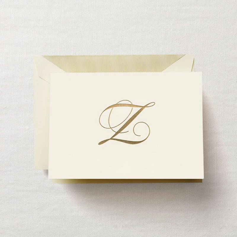 hand engraved script z initial note - Initial Note Cards