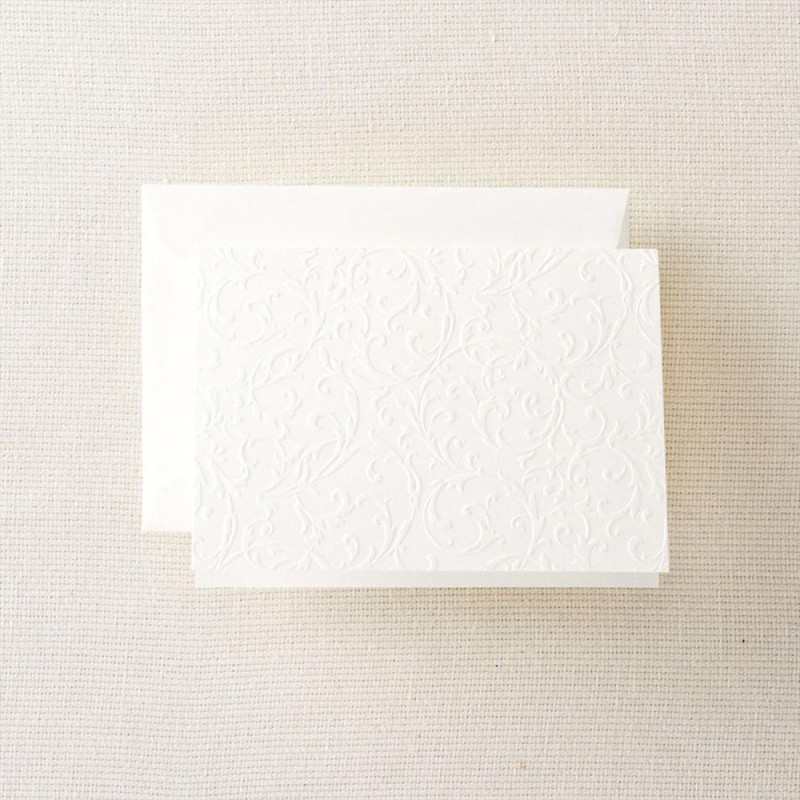 pearl white blind embossed note - Embossed Note Cards