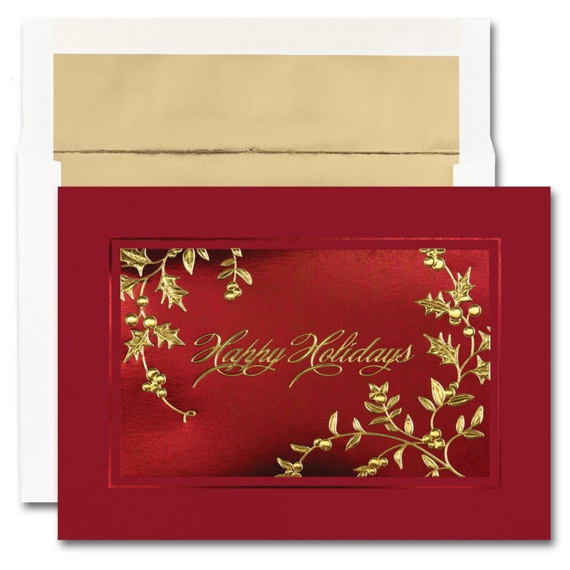 happy holidays holly cards from the fine impressions blank holiday cards collection - Happy Holidays Card