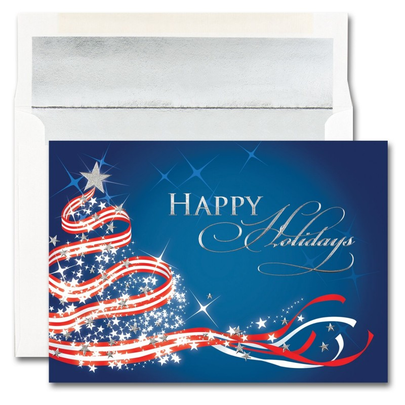 Patriotic Tree Cards from the Fine Impressions Blank Holiday Cards ...