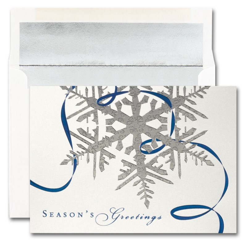 Silver snowflake seasons greetings cards from the fine impressions silver snowflake seasons greetings cards from the fine impressions blank holiday cards collection m4hsunfo