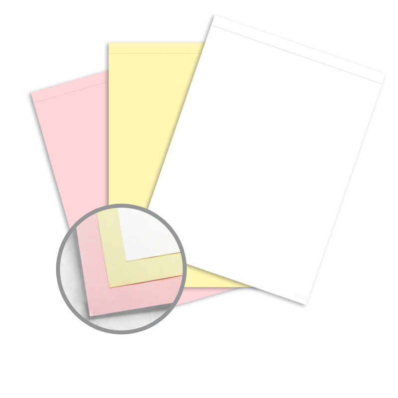 NCR Paper* Brand Superior Perf Multi Colored Carbonless Paper   8 1/2 X 11  1/2 In 21 Lb Writing Precollated 3 Part SS White, Canary, Pink Perforated  On Top ...  Colored Writing Paper