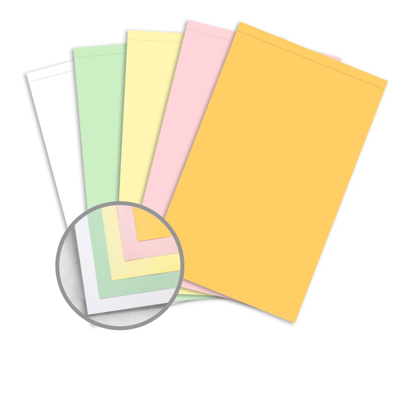 multi colored carbonless paper 8 1 2 x 14 1 2 in 21 4 lb writing