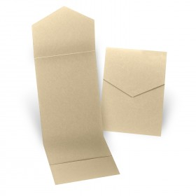 Fine Impressions Gold Shimmer Pocket Folder (5 1/4 x 7 5/16 folded) 105 lb Cover Smooth - 50 per Box
