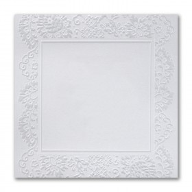 Fine Impressions Silver Lace White Shimmer Flat Invitations - Ultra (7 x 7) 105 lb Cover Smooth - 50 per Box