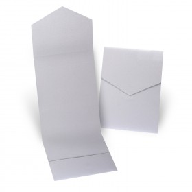Fine Impressions Silver Shimmer Pocket Folder (5 1/4 x 7 5/16 folded) 105 lb Cover Smooth - 50 per Box
