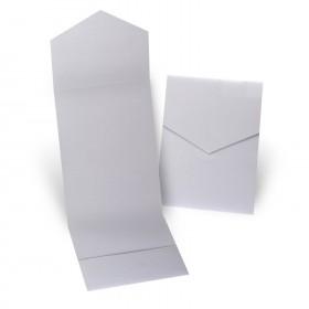 Fine Impressions Silver Shimmer Pocket Folder (5 1/4 x 7 5/16 folded) 105 lb Cover Smooth - 50 per Box