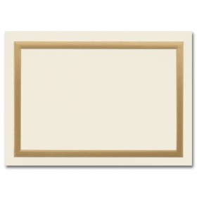 Fine Impressions Simple Gold Border Ecru Folded Cards - A1 (3 1/2 x 4 7/8 folded) 80 lb Cover Vellum - 50 per Box