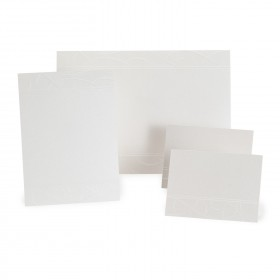 Fine Impressions White Shimmer Swirls Sep 'n Send (7 1/8 x 10) 105 lb Cover Smooth - 50 per Box
