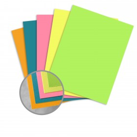 BriteHue 5 Assorted Colors Card Stock - 8 1/2 x 11 in 65 lb Cover Semi-Vellum 125 per Package