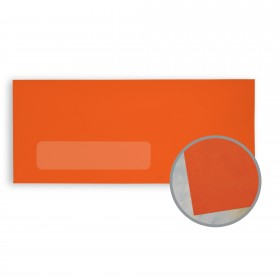 BriteHue Orange Envelopes - No. 10 Window (4 1/8 x 9 1/2) 60 lb Text Vellum  30% Recycled 500 per Box