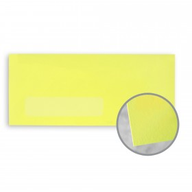 BriteHue Ultra Lemon Envelopes - No. 10 Window (4 1/8 x 9 1/2) 60 lb Text Vellum 500 per Box