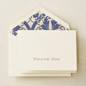 Crane & Co. Gold Hand Engraved Regency Thank You Note