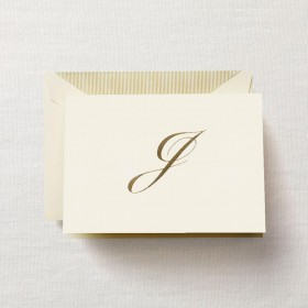 "Crane & Co. Hand Engraved Script ""J"" Initial Note"