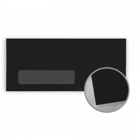 Plike Black Envelopes - No. 10 Window (4 1/8 x 9 1/2) 95 lb Text Smooth C/2S 400 per Box