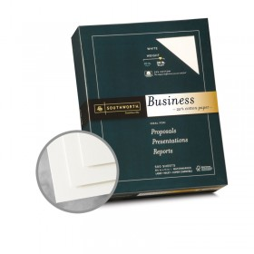 Southworth Business and Legal 25% Cotton White Paper - 8 1/2 x 11 in 24 lb Bond Wove  25% Cotton Watermarked 500 per Ream