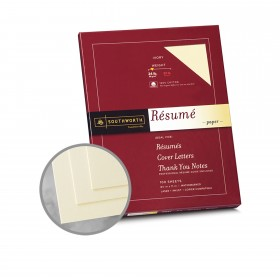 Southworth Resume 100% Cotton Ivory Paper - 8 1/2 x 11 in 24 lb Bond Wove  100% Cotton Watermarked 100 per Package