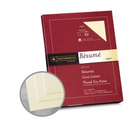 Southworth Resume 100% Cotton Ivory Paper - 8 1/2 x 11 in 32 lb Bond Wove  100% Cotton Watermarked 100 per Package