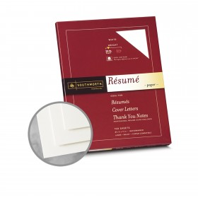 Southworth Resume 100% Cotton White Paper - 8 1/2 x 11 in 24 lb Bond Wove  100% Cotton Watermarked 100 per Package