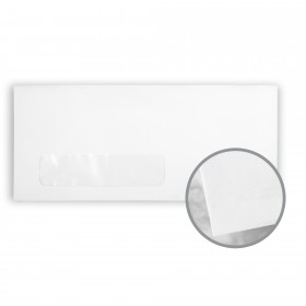 Via Smooth Pure White Envelopes - No. 10 Window (4 1/8 x 9 1/2) 24 lb Writing Smooth 500 per Box