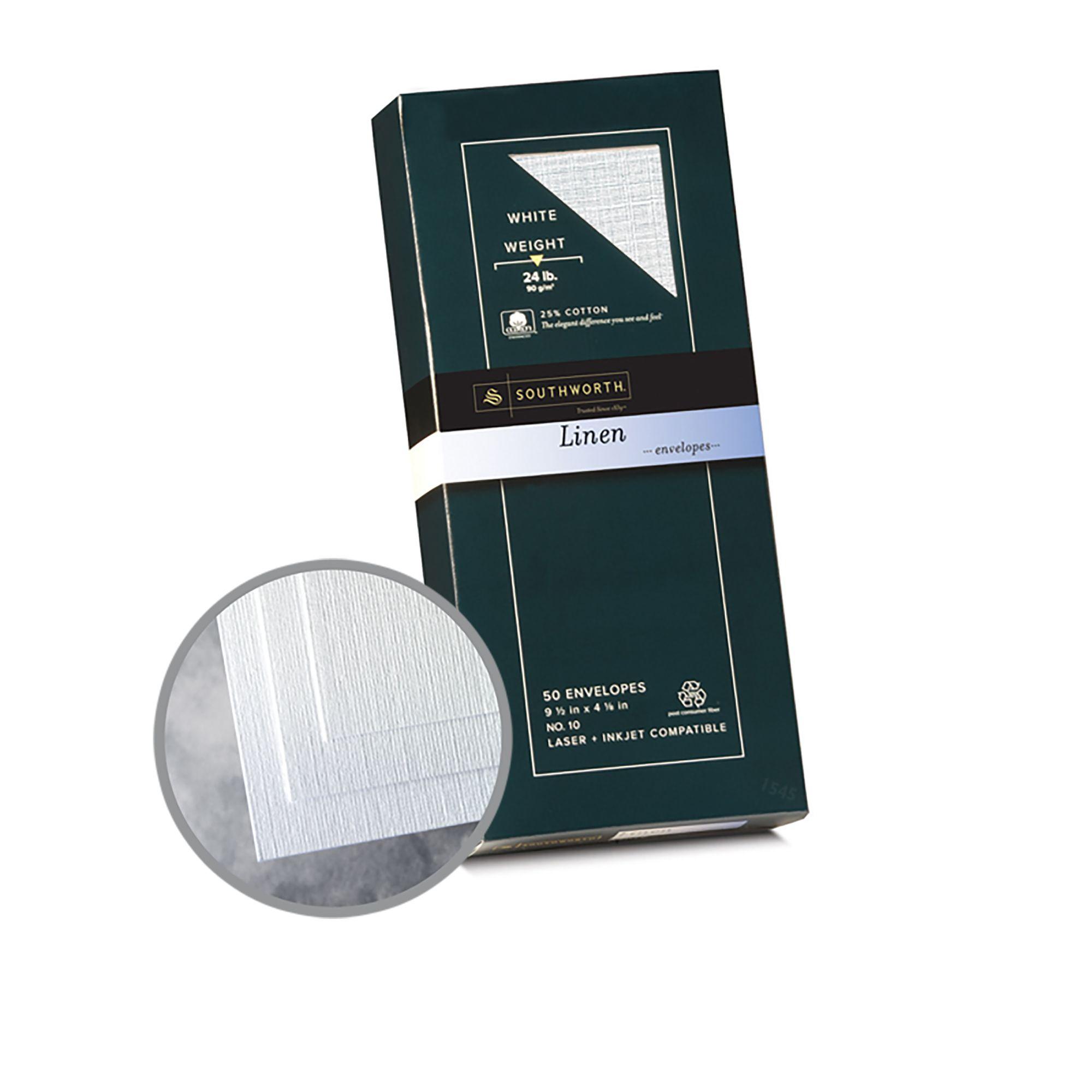 Southworth WHITE Linen Envelopes 24lb 25/% cotton Laser Inkjet compatible NEW!