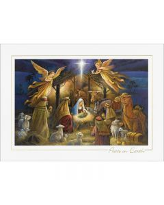 Nativity Scene Peace on Earth Cards from the Fine Impressions Blank Holiday Cards Collection.