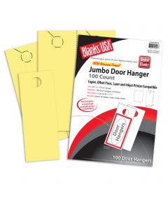 Blanks USA Canary Jumbo Door Hangers - 8 1/2 x 11 in 67 lb Bristol  Pre-Cut 50 per Package