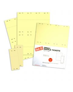 Small Raffle Ticket - 67 lb Bristol Uncoated Canary Yellow 8.5 x 11 - 125 Sheets 1,000 Numbered 01