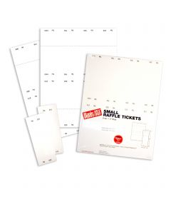 Small Raffle Ticket - 67 lb Bristol Uncoated White 8.5 x 11 - 125 Sheets 1,000 Numbered 01