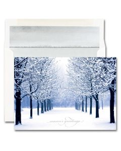 Blue Tree Scene Cards from the Fine Impressions Blank Holiday Cards Collection.