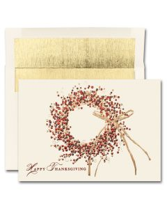 Happy Thanksgiving Wreath Cards from the Fine Impressions Blank Thanksgiving Cards Collection.