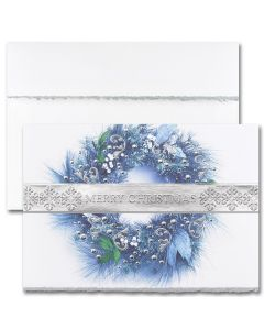 Merry Christmas Wreath Cards from the Fine Impressions Blank Holiday Cards Collection.