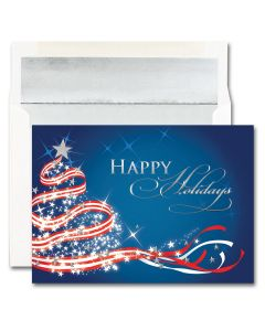 Patriotic Tree Cards from the Fine Impressions Blank Holiday Cards Collection.