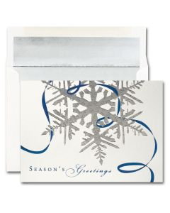 Silver Snowflake Season's Greetings Cards from the Fine Impressions Blank Holiday Cards Collection.
